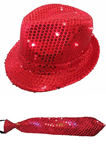 Red LED Fashing Light Up Sequin Fedora Hat Tie Costume (Michael Jackson Fedora Hat For Sale)
