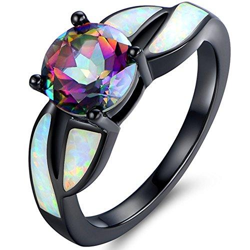 Barzel Black Rhodium Plated Brass Created Opal & Mystic Topaz Ring (8)