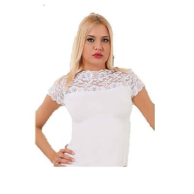 ablamsshop shirt Pointe Pointe T-shirt Chemisier à manches courtes Lingerie S M L XL (XL, noir)