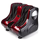 Foot massager calf massage with Shiatsu Kneading Rolling Vibration Heating Function (red)