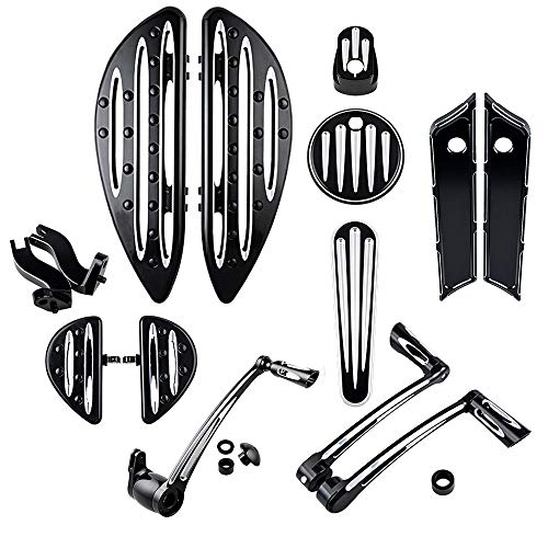 Driver Passenger Floorboards w/Peg Mount Bracket + Brake Arm Kit + Toe Heel Shift Lever Shifter Peg + Dash Accessory Pack + Ignition Cover + Saddlebag Latch Cover Compatible with 14-16 Harley Touring