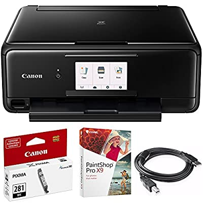 Canon PIXMA TS8120 Wireless Inkjet All-in-One Printer with Scanner & Copier Black (2230C002) CLI-281 Black Ink Tank, Corel Paint Shop Pro X9 Digital Download & High Speed 6-foot USB Printer Cable