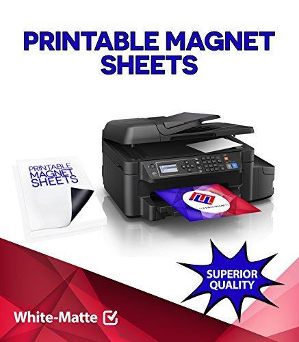 Printable Magnet Sheets - 8.5 X 5.5 Inches - White - Design & Print Magnetic Sheets for Inkjet Printers- 15 Mil Thick! (Matte - 50)