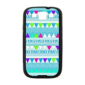 Aztec Colorful Pattern Bohemian Style Blue Polka Dot and Zigzag Design Custom Cover For CaseSamsung I9300 GALAXY S3(Black) with Best Plastic