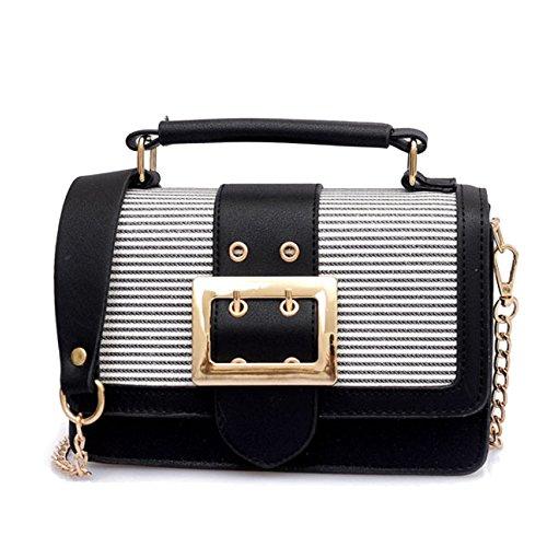 PU Messenger Sacs Mesdames Black Couleurs Stripe Femmes Candy Pour à Metal Strap Sacs Mini Bandoulière En Cuir Petit Micro AAwEgPpq