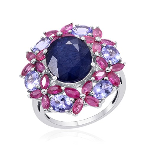 Diffused Blue Sapphire, Multi Gemstone Platinum Plated Silver Cluster Ring 9.5 cttw Size 7 (Cluster Ring Gemstone Multi)