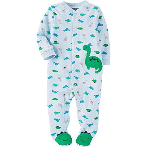 Child of Mine Boy Sleeper Preemie Size Footed (Preemie, Light Blue Dino)
