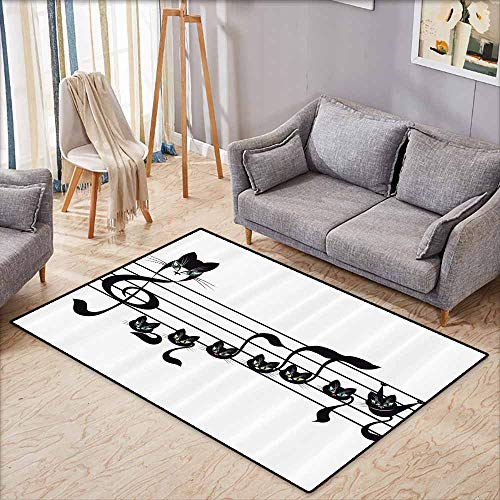 (Non-Slip Rug,Music Decor Collection,Notes Kittens Cat Artwork Notation Tune Children Halloween Style Pattern,Super Absorbs Mud,4'11