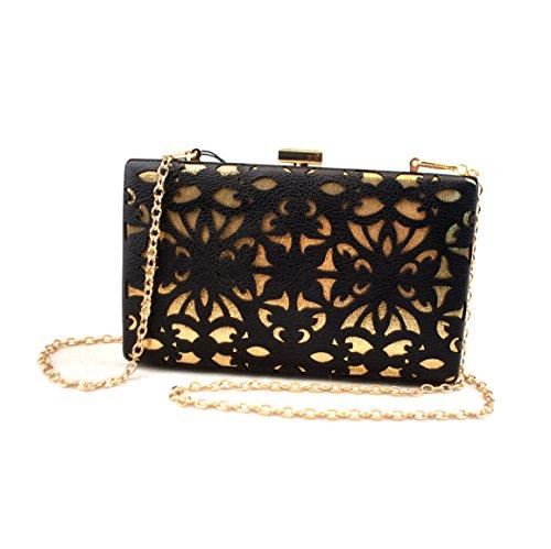 Cut Hand bag Made clutch Purse Wedding Party Bridal Y Evening Laser black C Wallet xwZPRnqp