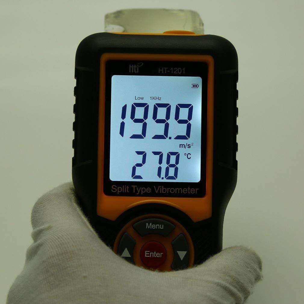 QWERTOUR Digital Precision Split Type Vibration Meter Tester Acceleration Sensor Gauge with LCD Backlight HT-1201 Velocity Measuring