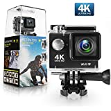Amuoc Action Camera, 4K WiFi Ultra HD Waterproof DV Camcorder 12MP 170 Degree Wide Angle, Including Waterproof Case and Full Accessories Kits