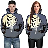 Clearance Women Tops LuluZanm Long Sleeve Halloween Couples Hoodies Men Women Mode 3D Print Top Blouse Shirts