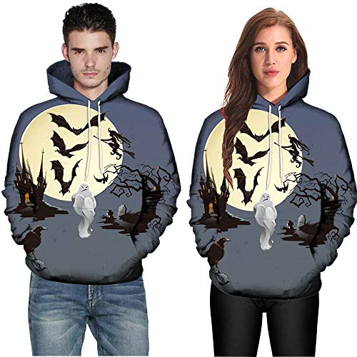 Bestow- Unisex 3D Print Hip Hop Pullover Hoodie Hooded Sweatshirt Athletic Sweaters Autumn Winter Long Sleeve Jacket Coat003-Halloween All Souls Day Women Men Couple Punk M-3XL Multicoloured