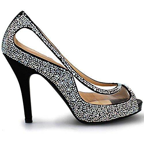 sko Stiletto Hæler Flr243 På Peep Slip Boutique Ut Fest Diamante Asia Rachel Damene Toe Only Sort Kutte ® xfCaWqwA