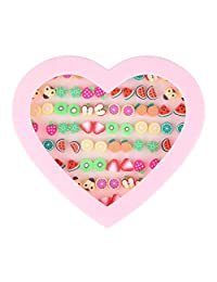 Beauty7 36pairs Assorted Cute Fruit Theme Stud Earrings Set Polymer Clay Earring For Kids Child With Pink Heart Box