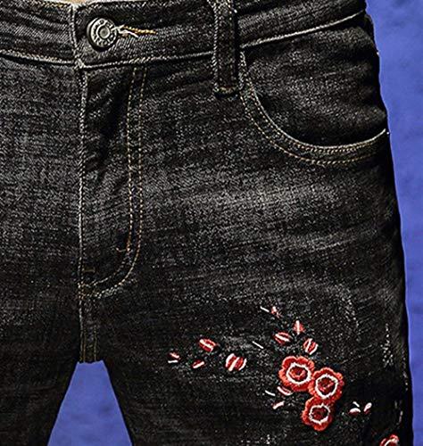 Mode Base Elasticizzati Jeans Ssig Di Black 1 Da Pantaloni Costine Bolawoo Denim Uomo Strappati In Marca A Casual Sottili xvqfACB