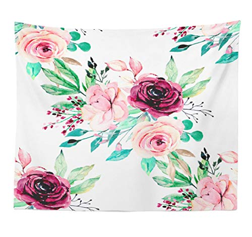 (Lshtar Decorative Tapestry Seamless White Pattern Floral Watercolor and Roses Texture Wallpaper Wrapper Wall Hanging Tapestry Polyester 60''L x 80''W for Bedroom Living Room)