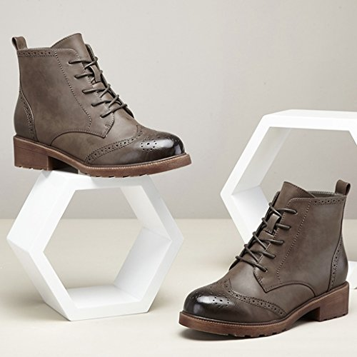 Mme automne et l'hiver des bottes en Europe et en Amérique Martin dans la mode avec casual chaussures PU dentelle ronde épaisse de velours gris chaussures à la main
