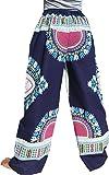 RaanPahMuang Dashiki Hipster Pants Elastic Waist in Light Summer Cotton, Medium, Dark Blue