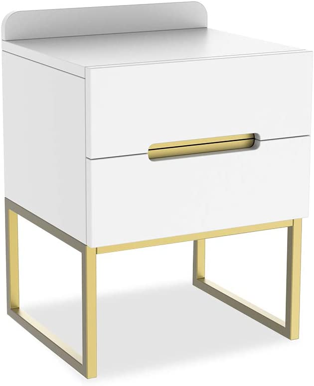ZZBIQS Wood Nightstand Bedside Table with 2 White Drawers for Storage, Modern Side End Table with Metal Frame Leg for Living Room Bedroom Office Home Furniture (White/Gold)