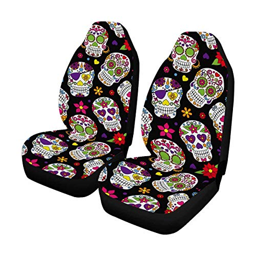 INTERESTPRINT Day of The Dead Sugar Skull Front Seat Covers 2 pc, Car Front Seat Cushion Fit Car, Truck, SUV or Van
