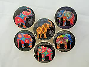 Set of 6 Paisley Elephant Cabinet Knobs (Paisley Elephant)