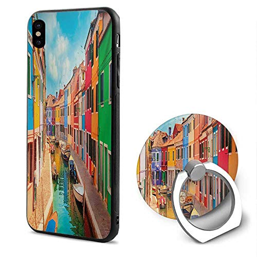 Venice iPhone x Cases,Colorful Buildings and Water Canal with Boats Burano Island in The Venetian Lagoon Multicolor,Design Mobile Phone Shell Ring Bracket
