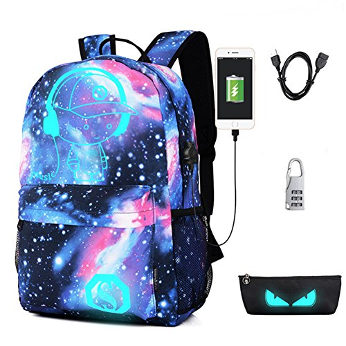 Anime Anti-theft Backpack, Luminous School Bag, Waterproof Laptop Backpack with USB Charging Port, Unisex 15.6 Inch College Daypack, Starry
