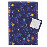 Geek Science Planet Solar System Space Stars Nature Tea Towels Our Solar System by Robyriker Set of 2 Linen Cotton Tea Towels