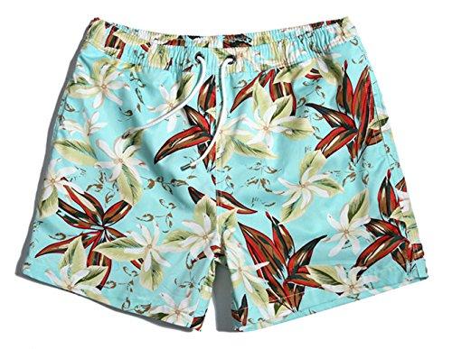 iPretty Herren Sommer Strand kurze Shorts Badeshorts Badehose Boardshorts mit Blumen Muster,dunkelblau