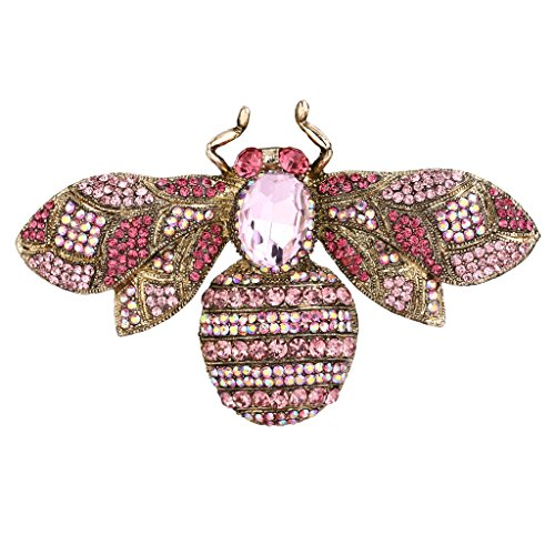 EVER FAITH Gold-Tone Rhinestone Crystal Honeybee Insect Brooch Pink ()