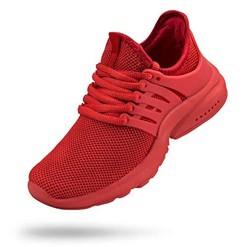 Troadlop Girls Shoes Lightweight Casual Walking Sneakers for Boy Red Size 2 M US Little ()