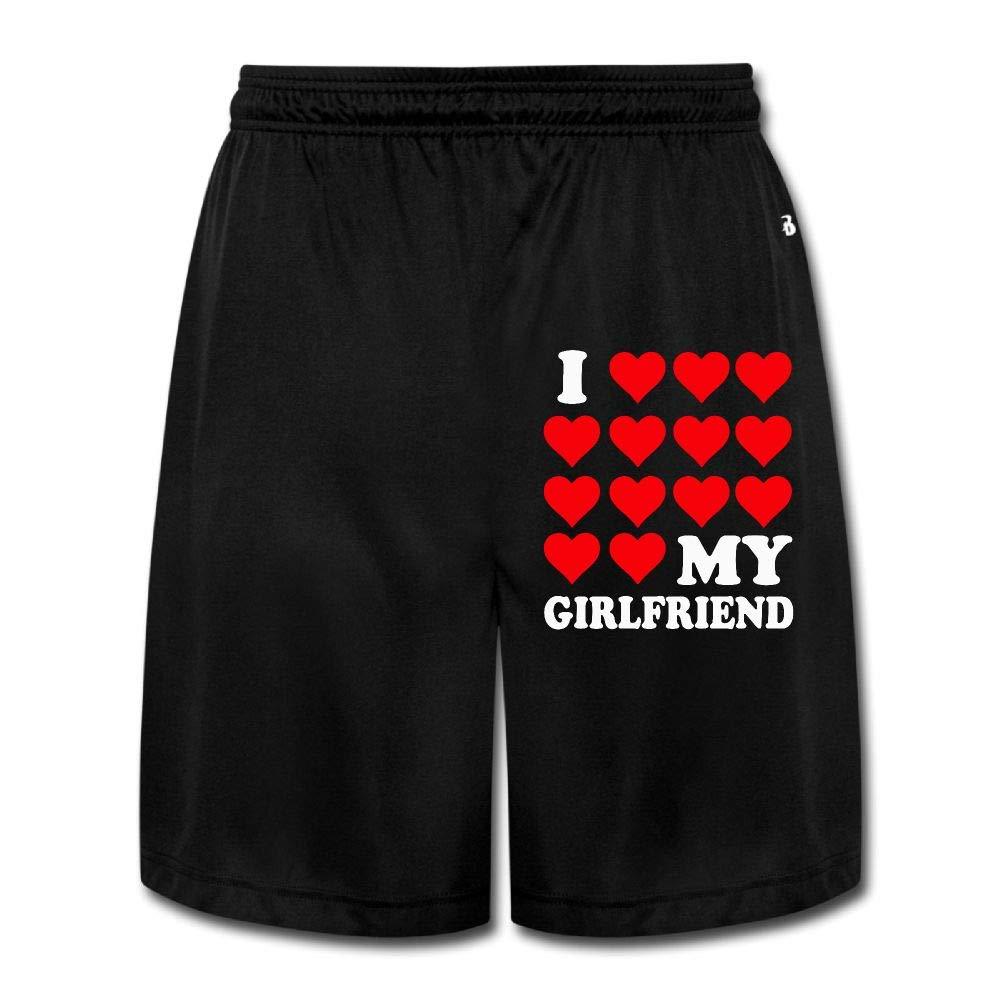 I Love My Girlfriend1 Men's Cotton Elastic Waist Sports Jersey Cargo Shorts