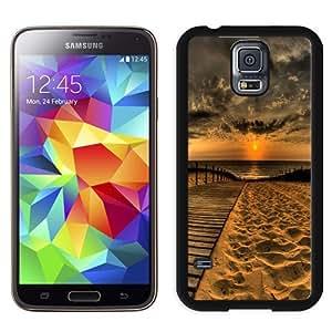 Fashionable Custom Designed Samsung Galaxy S5 I9600 G900a G900v G900p G900t G900w Phone Case With Wooden Path Sea Sunset Sand_Black Phone Case
