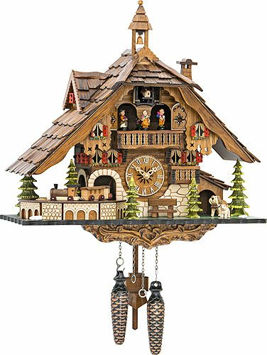 Quartz Cuckoo Clock Black Forest House with Moving Train, with Music EN 48110 QMT