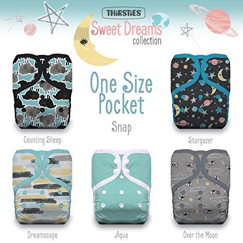 Thirsties Package, One Size Pocket Diaper Snap, Sweet Dreams by Thirsties