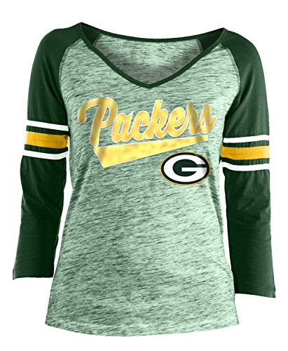 New Era Green Bay Packers Women's NFL End Zone Space Dye 3/4 Sleeve -