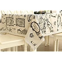 Famibay Tablecloth, Cotton and Linen Blended Rectangular Tablecloth for Restaurant Kitchen Dining Table Book Desk Vintage World Map Pattern (55 Inch x 86 Inch)