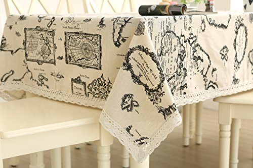World Linen Pattern - famibay Tablecloth, Cotton Linen Blended Rectangular Tablecloth Restaurant Kitchen Dining Table Book Desk Vintage World Map Pattern(55 Inch x 78 Inch)