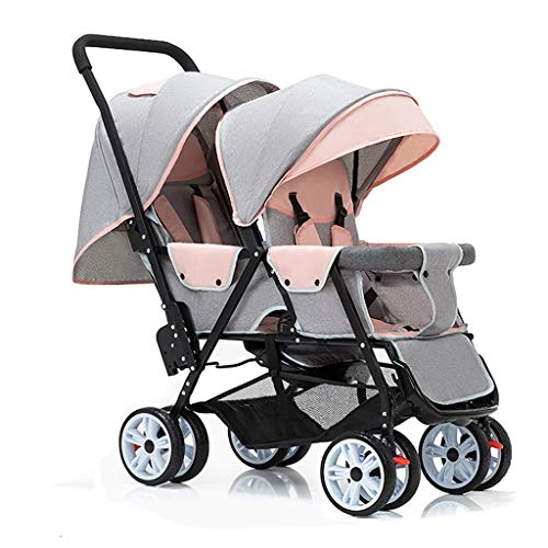 JIAX Tandem Double Stroller for Infants, Toddlers or – 360° Turning, Footrest, 5 Points Safety Belts, Foldable Design for Easy Transportation (Color : Gray Pink)