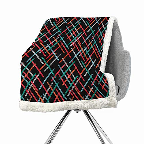 BenmoHouse Abstract Berber Fleece Blanket Small Quilt 60 by 47 Inch Fuzzy Multicolor Contemporary Style Color Bars with Watercolor Paintbrush Effects on Black Backdrop (Stores Denver Outdoor Furniture)