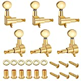 Neewer 6 Pieces Guitar String Tuning Key Pegs/Machine Head Knobs(3 for Left and 3 for Right) with Ferrules,Threaded Bushings,Mount Screws for Electric or Acoustic Guitar,Made of Zinc Alloy Metal(Gold)
