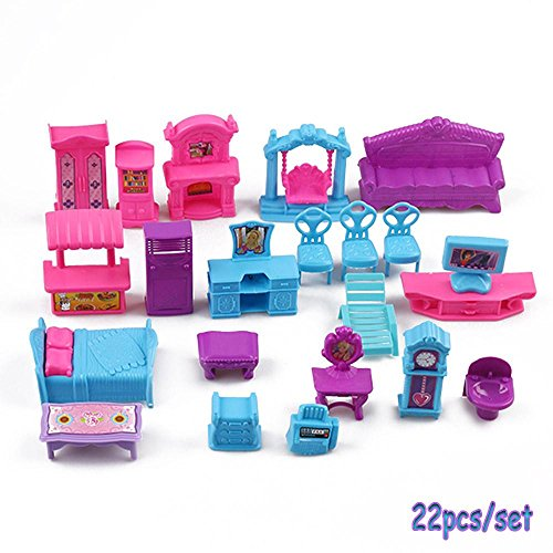 Junbuoom 22pcs/Set New Accessories Cute Play Set Miniature Plastic Furniture 3D Dolls House Pretend Toys