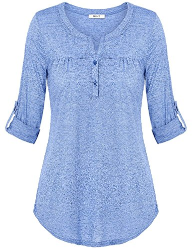 Women Tops and Blouses, Jazzco Ladies Henley V Neck Cuffed Sleeve Lightweight Stretchy Day to Work Tee - Fx Of 25 Days Christmas