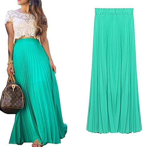 Izacu Womens Blending Chiffon Fold Long Maxi Skirt Vintage Dress (Us 2-10, Green)
