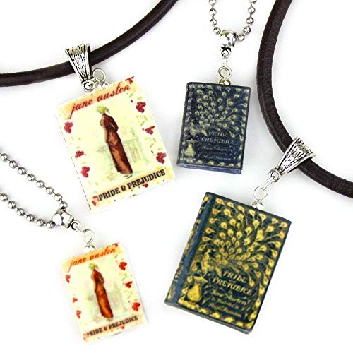 PRIDE AND PREJUDICE Jane Austen Clay Mini Book Pendant Necklace by Book Beads]()