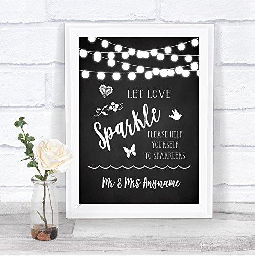 Chalk Style Black & White Lights Let Love Sparkle Sparkler Send Off Wedding Sign