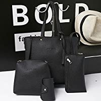 ocamo 4pcs dama–Juego de bolsas de hombro mujeres en relieve bolso de piel bolso de mano bolso bolso de mensajero bolso bandolera, Negro