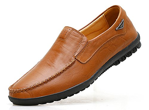 VanciLin Men's Casual Leather Fashion Slip-On Loafers Shoes(V228R.Brown44-1)