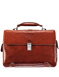 Piquadro Brief Case with 2 Gussets In Leather, Orange, One Size